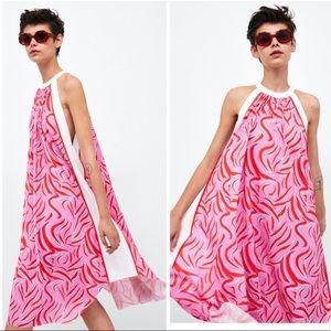 Halter Print Mid Dress Size M NWT